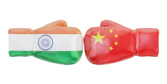 Boxing gloves with India and China flags. Governments conflict concept, 3D rendering